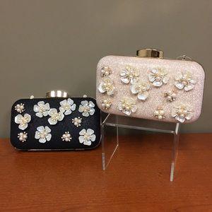 Handbags - Floral & Glittery Convertible Clutch